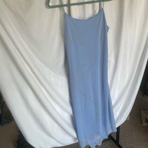 90s baby blue midi dress with rhinestone detail